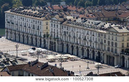 Main Square In Turin City In Italy Called Piazza Vittorio Veneto