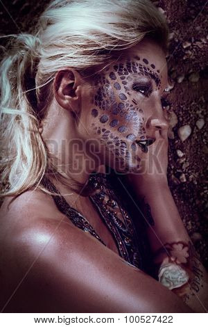 female blond attractive lady with henna