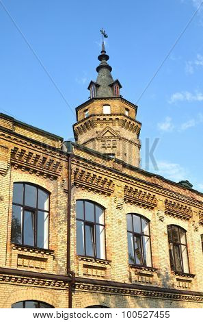 KIEV, UKRAINE - SEP 2, 2015:  A view of an antique bricks building of the National Polytechnic University. Historical area in campus. on September 2, 2015 in Kiev, Ukraine