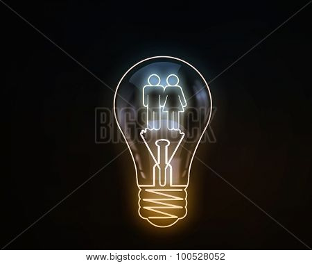 Light bulb with icons inside on dark background