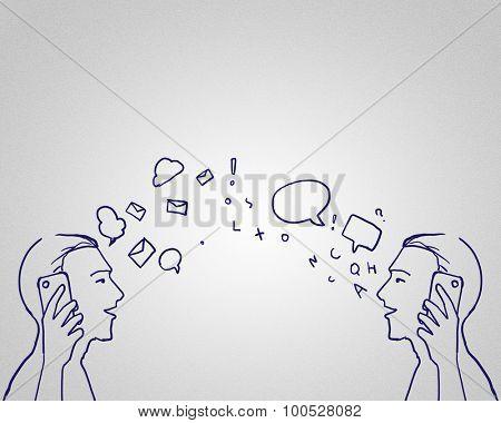 Hand drawn sketch of two men talking mobile phones