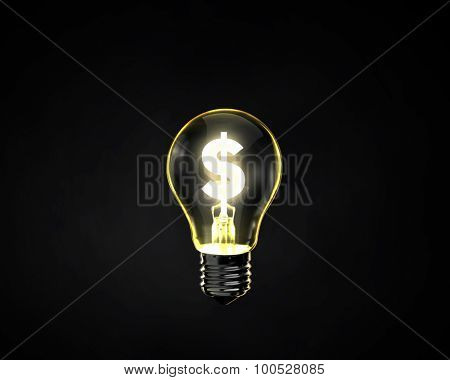 Glowing light bulb with dollar symbol inside