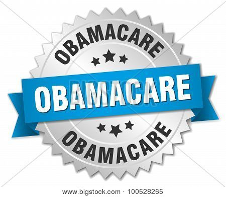 Obamacare 3D Silver Badge With Blue Ribbon