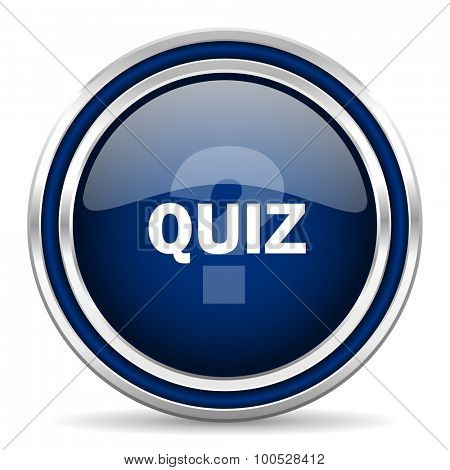 quiz blue glossy web icon modern computer design with double metallic silver border on white background with shadow for web and mobile app