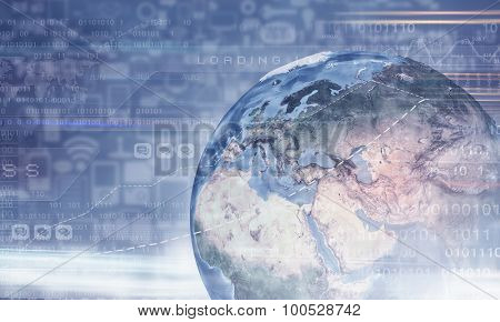 Digital background image with diagrams and graphs. Elements of this image are furnished by NASA