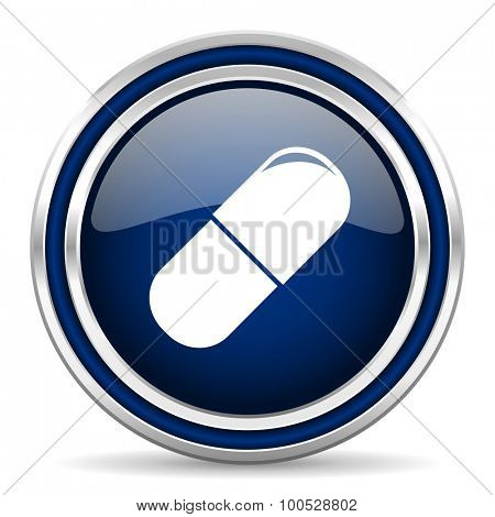 drugs blue glossy web icon modern computer design with double metallic silver border on white background with shadow for web and mobile app