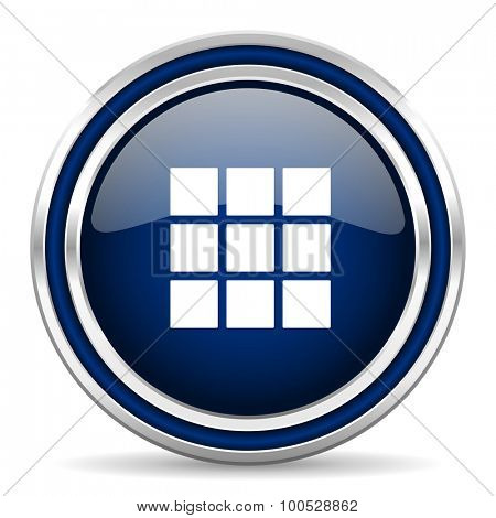 thumbnails grid blue glossy web icon modern computer design with double metallic silver border on white background with shadow for web and mobile app