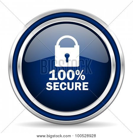 secure blue glossy web icon modern computer design with double metallic silver border on white background with shadow for web and mobile app round internet button for business usage