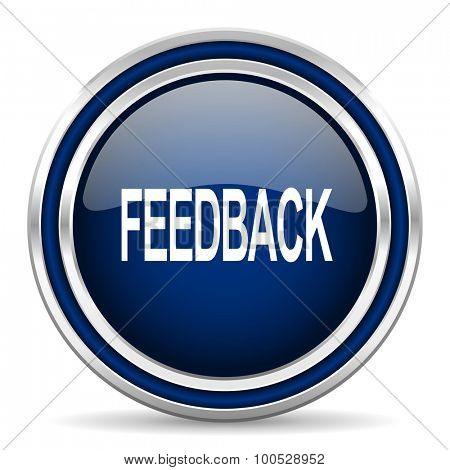 feedback blue glossy web icon modern computer design with double metallic silver border on white background with shadow for web and mobile app round internet button for business usage