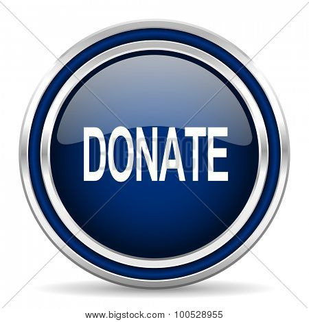donate blue glossy web icon modern computer design with double metallic silver border on white background with shadow for web and mobile app round internet button for business usage