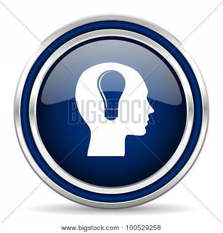 head blue glossy web icon modern computer design with double metallic silver border on white background with shadow for web and mobile app round internet button for business usage