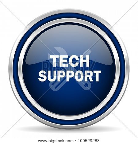 technical support blue glossy web icon modern computer design with double metallic silver border on white background with shadow for web and mobile app round internet button for business usage