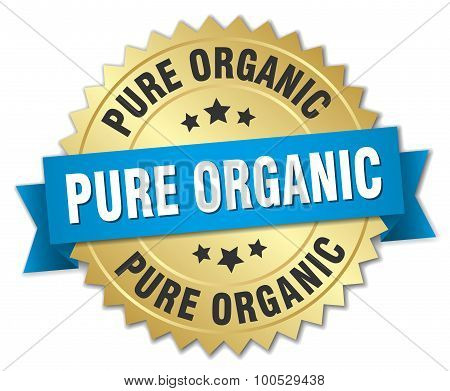 Pure Organic 3D Gold Badge With Blue Ribbon