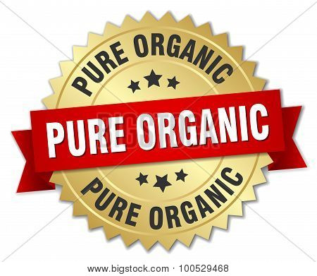 Pure Organic 3D Gold Badge With Red Ribbon