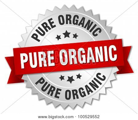Pure Organic 3D Silver Badge With Red Ribbon
