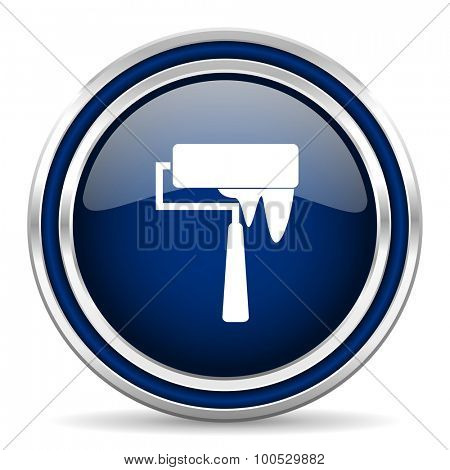 brush blue glossy web icon modern computer design with double metallic silver border on white background with shadow for web and mobile app round internet button for business usage