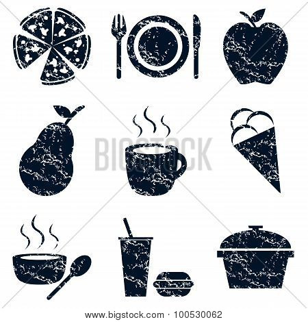 Food icons set, grunge