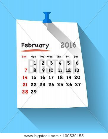 Flat Design Calendar For February 2016 On Blue Sticky Note