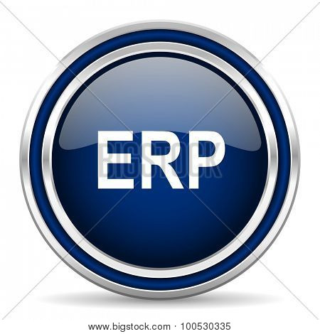 erp blue glossy web icon modern computer design with double metallic silver border on white background with shadow for web and mobile app round internet button for business usage