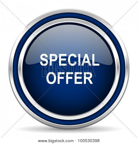 special offer blue glossy web icon modern computer design with double metallic silver border on white background with shadow for web and mobile app round internet button for business usage