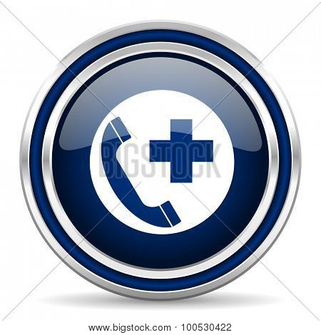 emergency call blue glossy web icon modern computer design with double metallic silver border on white background with shadow for web and mobile app round internet button for business usage