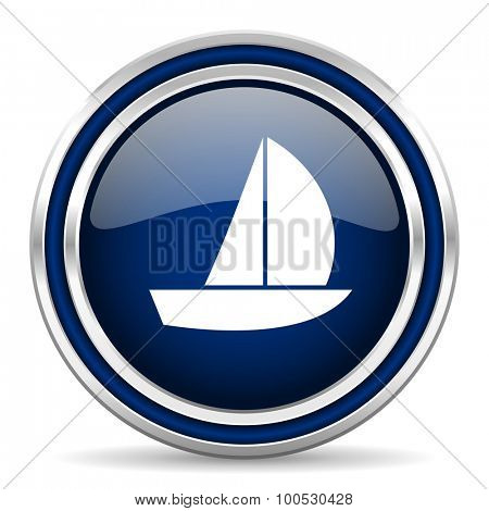 yacht blue glossy web icon modern computer design with double metallic silver border on white background with shadow for web and mobile app round internet button for business usage