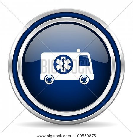 ambulance blue glossy web icon modern computer design with double metallic silver border on white background with shadow for web and mobile app round internet button for business usage