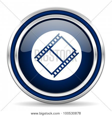 film blue glossy web icon modern computer design with double metallic silver border on white background with shadow for web and mobile app round internet button for business usage