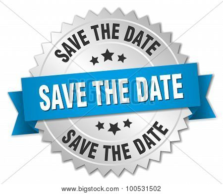 Save The Date 3D Silver Badge With Blue Ribbon