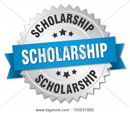 Scholarship 3D Silver Badge With Blue Ribbon