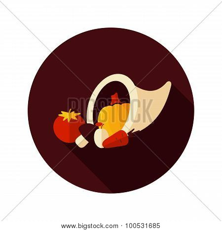 Harvest Cornucopia Flat Icon With Long Shadow