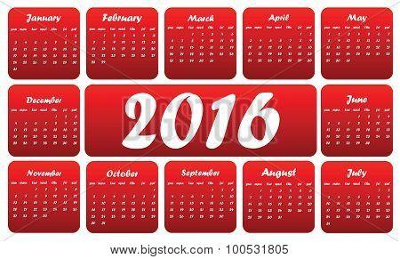 Red 2016 calendar