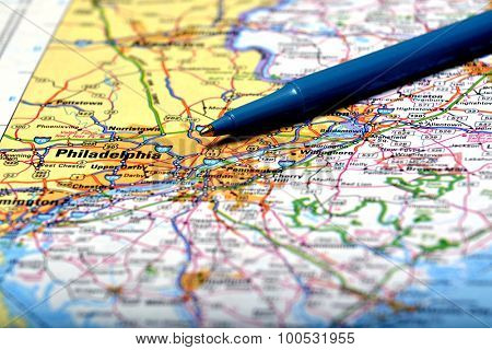 Closeup map of city Philadelphia for travel destination driving