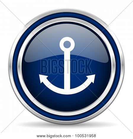 anchor blue glossy web icon modern computer design with double metallic silver border on white background with shadow for web and mobile app round internet button for business usage