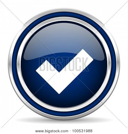 accept blue glossy web icon modern computer design with double metallic silver border on white background with shadow for web and mobile app round internet button for business usage