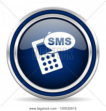 sms blue glossy web icon modern computer design with double metallic silver border on white background with shadow for web and mobile app round internet button for business usage