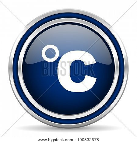 celsius blue glossy web icon modern computer design with double metallic silver border on white background with shadow for web and mobile app round internet button for business usage