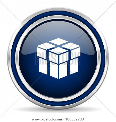 box blue glossy web icon modern computer design with double metallic silver border on white background with shadow for web and mobile app round internet button for business usage
