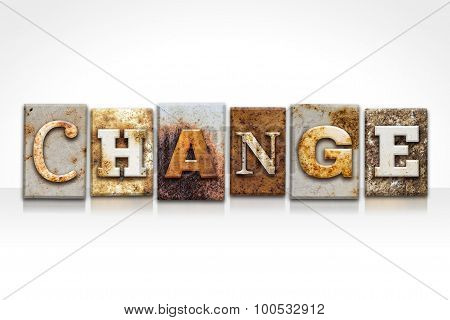 Change Letterpress Concept Isolated On White