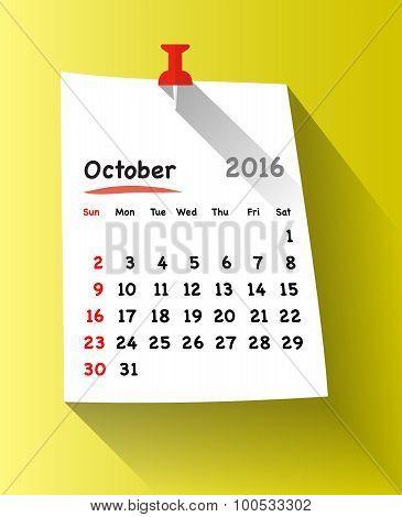 Flat Design Calendar For October 2016