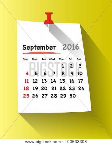 Flat Design Calendar For September 2016