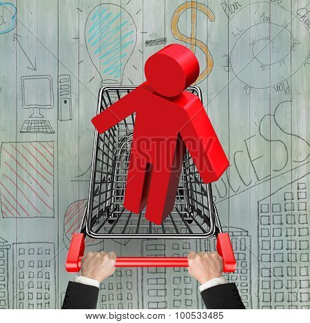 Hands Pushing Shopping Cart With Red 3D Man