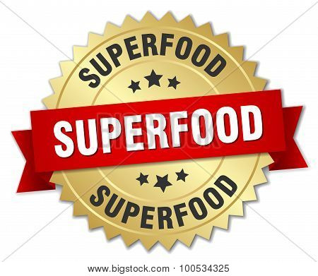 Superfood 3D Gold Badge With Red Ribbon