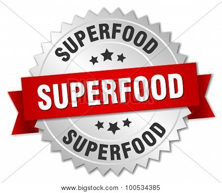 Superfood 3D Silver Badge With Red Ribbon