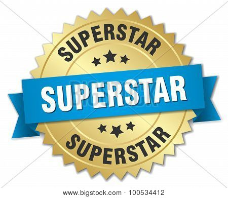 Superstar 3D Gold Badge With Blue Ribbon
