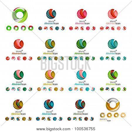 Set of modern circle, globe or sphere logo concept. Web branding, app icon design illustration