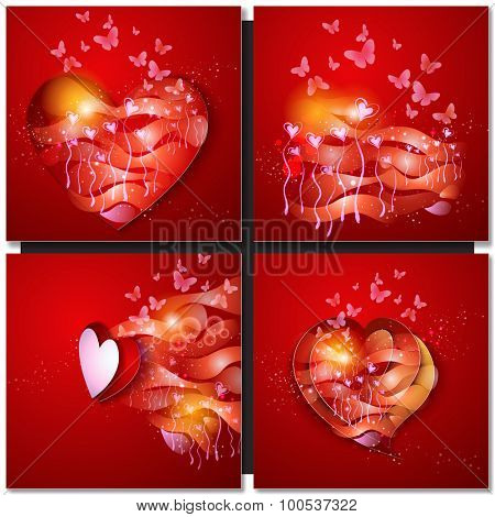 Valentine Day Red Background Greeting Card.