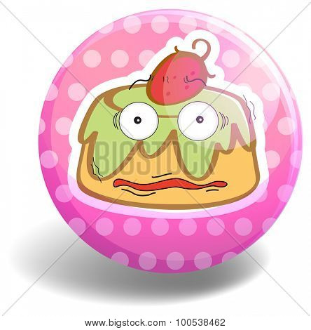 Custard cake on pink badge illustration