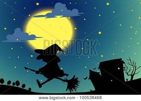 Silhouette witch flying on broom at night illustration