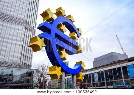 Frankfurt, Germany-February 21 : Euro Sign. European Central Bank (ECB) is the central bank for the euro and administers the monetary policy of the Eurozone. February 21, 2015 in Frankfurt, Germany.